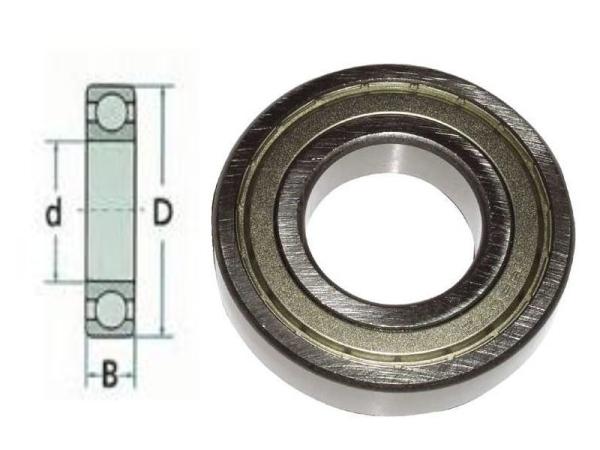 Metrische kogellager met afdichting D12mm x d6mm x B4mm