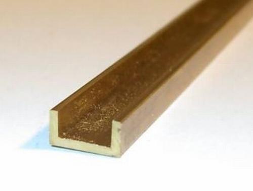Messing U-Profiel met ongelijke zijden 2 x 1mm  Per Stuk