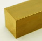 Messing vierkant massief 3,5 x 3,5 mm Per Stuk