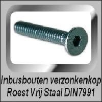 Inbus verzonken kop Roest Vrij Staal DIN7991