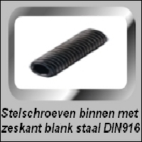 Stelschroef blank staal DIN 916