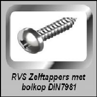 Zelftappers RVS met bol kop DIN 7981