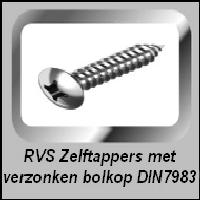 Zelftappers RVS verzonken bolkop DIN 7983