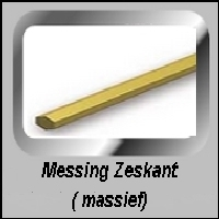 Zeskant Messing MM maten Masief